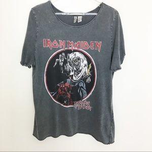 Iron Maiden graphic concert distressed tee 1980s